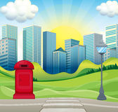 City scene with office buildings and park Royalty Free Stock Photo