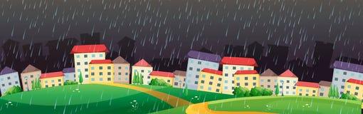 City scene with rain in dark sky. Illustration Stock Photo
