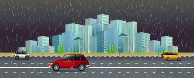 City scene in the rain at night. Illustration Stock Images