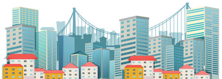 City scene with tall buildings Royalty Free Stock Photography