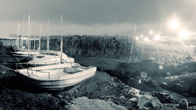 City scenery of discard boats Royalty Free Stock Images