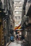 City scenery of narrow lane Royalty Free Stock Photo