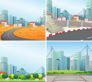 City scenes. Four city scenes at day time Stock Photo