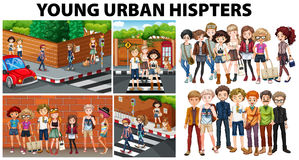 City scenes and young urban hipsters. Illustration Stock Photography