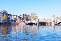 City scenic from Amsterdam at the Amstel in Netherlands Royalty Free Stock Photography