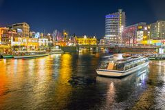City scenic from Amsterdam at christmas in the Netherlands at ni. Ght Stock Image