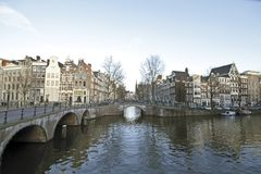 City scenic from Amsterdam in the Netherlands Stock Images