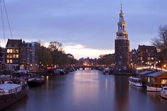 City scenic in Amsterdam the Netherlands. At night Stock Photos