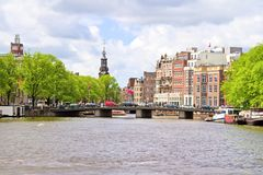 City scenic from Amsterdam with in the Netherlands Royalty Free Stock Photos