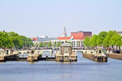 City scenic from Amsterdam with in the Netherlands Royalty Free Stock Image