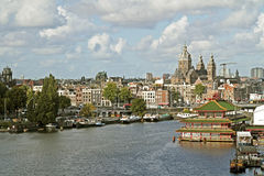 City scenic from Amsterdam in Netherlands Royalty Free Stock Photos