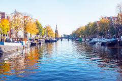 City scenic from Amsterdam in Netherlands in autumn. City scenic from Amsterdam in the Netherlands in autumn Royalty Free Stock Photos