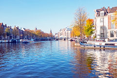 City scenic from Amsterdam in Netherlands in autumn Stock Photography