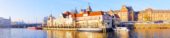 City scenic from Amsterdam in Netherlands with the central stati Royalty Free Stock Images