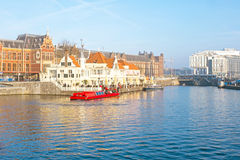 City scenic from Amsterdam in Netherlands with the central stati Stock Image