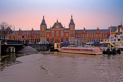 City scenic from Amsterdam in the Netherlands with the Central Station stock image