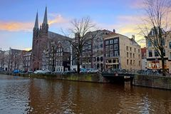 City scenic from Amsterdam in the Netherlands royalty free stock photos
