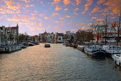 City scenic from Amsterdam in the Netherlands. At the river Amstel Stock Image