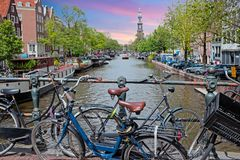 City scenic from Amsterdam in the Netherlands. At sunset Royalty Free Stock Image