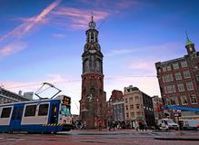 City scenic from Amsterdam in the Netherlands with the Munt tower royalty free stock photo