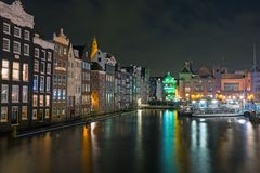 City scenic from Amsterdam in the Netherlands by night Stock Image