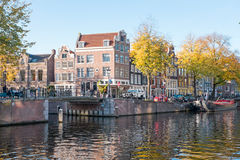 City scenic from Amsterdam in the Netherlands. In fall Royalty Free Stock Images