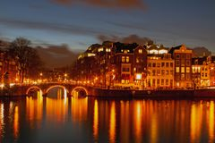 City scenic from Amsterdam in the Netherlands. At night Royalty Free Stock Photography