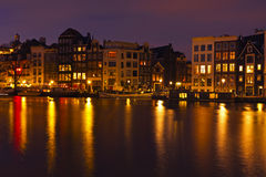 City scenic from Amsterdam Netherlands by night Royalty Free Stock Photos