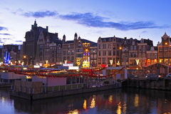 City scenic from Amsterdam Netherlands by night Stock Photo