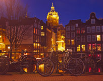 City scenic from Amsterdam Netherlands by night Royalty Free Stock Image