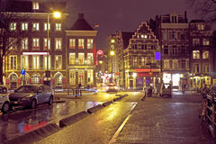 City scenic from Amsterdam in the Netherlands at night Royalty Free Stock Photography