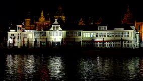 City scenic from Amsterdam Netherlands at night stock video footage