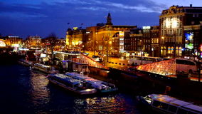 City scenic from Amsterdam Netherlands at night stock video