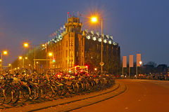 City scenic in Amsterdam Netherlands by night Stock Photo