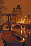 City scenic in Amsterdam Netherlands by night Royalty Free Stock Images