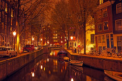 City scenic in Amsterdam Netherlands by night Royalty Free Stock Photos