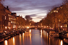 City scenic from Amsterdam in Netherlands by night Stock Images