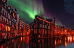 City scenic in Amsterdam the Netherlands at night Stock Photo