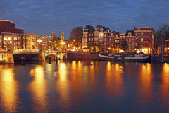 City scenic from Amsterdam in the Netherlands by night Royalty Free Stock Photos