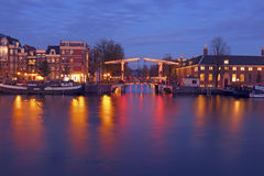 City scenic from Amsterdam in the Netherlands by night Stock Photography