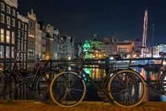 City scenic from Amsterdam in the Netherlands by nightc. City scenic from Amsterdam in the Netherlands Europe by night Stock Images