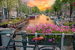 City scenic in Amsterdam Netherlands at the Prinsengracht Royalty Free Stock Image