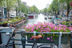City scenic in Amsterdam Netherlands at the Prinsengracht Stock Photos