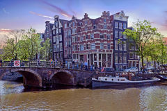 City scenic in Amsterdam the Netherlands at the Prinsengracht Stock Photography