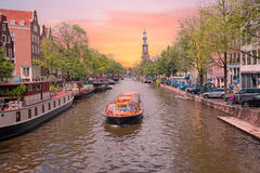 City scenic in Amsterdam the Netherlands at the Prinsengracht Royalty Free Stock Photos