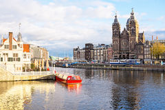 City scenic from Amsterdam in the Netherlands Royalty Free Stock Image