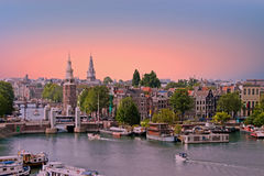 City scenic from Amsterdam in Netherlands at sunset Royalty Free Stock Photography