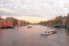 City scenic from Amsterdam in the Netherlands at twilight Royalty Free Stock Images