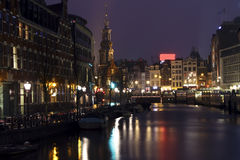 City scenic from Amsterdam at night in the Ne Stock Photography