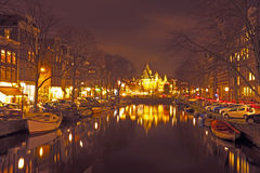 City scenic from Amsterdam with the Waag building in the Netherl Stock Image